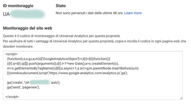 Codice di monitoraggio Google Analytics