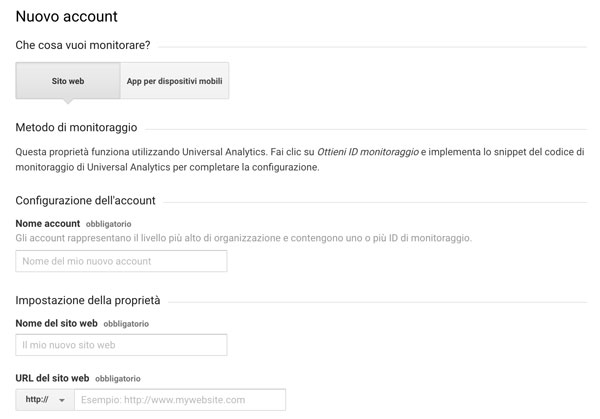 Modulo di registrazione a Google Analytics