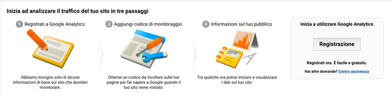 Pagina di registrazione su Google Analytics