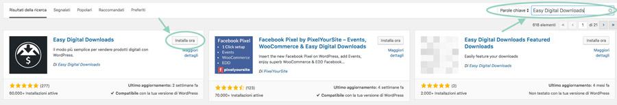 Ricerca e installa Easy Digital Downloads