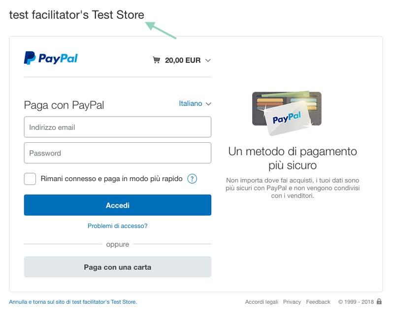 Pagina Paypal Sandbox
